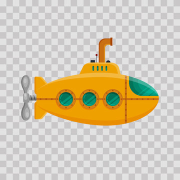Yellow submarine with periscope on transparent background. Colorful underwater sub in flat style. Childish toy - stock vector illustration