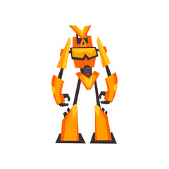 Bright yellow-orange robot transformer with claw hands. Fantasy metal monster. Isolated flat vector design