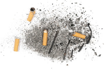 Cigarette stubs, butts, burned matches and ash isolated on white background, top view