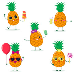 A set of five pineapples Smiley in cartoon style. In glasses with ice cream, with a balloon, with a lollipop, with juice, with a selfie phone. Flat, vector.