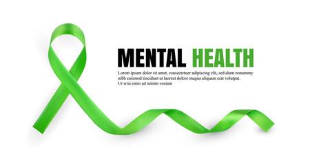 Green Mental Health Awareness Symbolic Ribbon