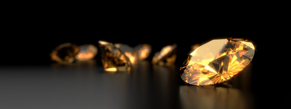 Round diamond topaz Gem reflected placed on dark reflection background. 3d