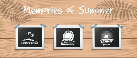 Memories of Summer. Hello summer. Summer design template for your photos. Vector illustration