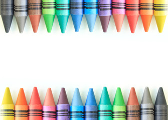 Wall Mural - crayon drawing border multicolored background