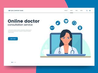 Online doctor website concept. Young woman doctor on laptop screen. Telemedicine benefits illustration. Health care online service Modern medicine landing page template. Eps 10.
