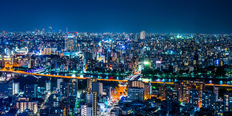 Asia Business concept for real estate and corporate construction - panoramic urban city skyline aerial view under twilight sky and neon night in tokyo, Japan