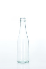glass bottle clear empty on white background