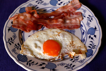 A breakfast plate with ham and egg is pictured in Berlin