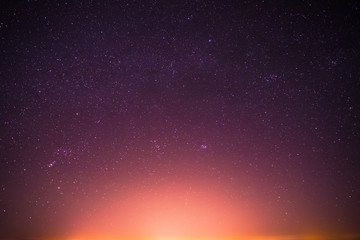 Real Night Sky Stars Background With Natural Colourful Gradient.