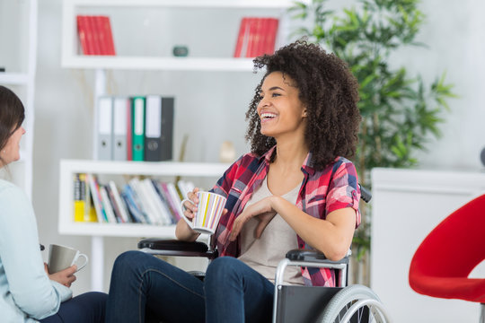 young woman in wheelchair so happy in love