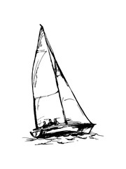 drawing of a yacht.