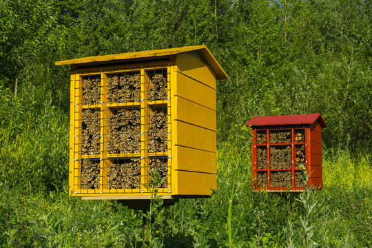 multicolored artificial nest blocks for wild solitary mason bees for pollination of plants