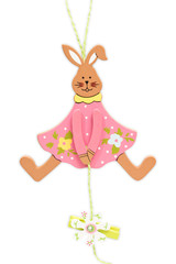 Easter bunny over white background