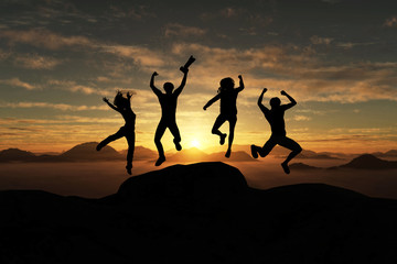 3d illustration of silhouette group of happy  traveller  jumping on top of the mountain at sunset