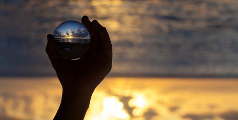Crystal ball photography - sunset beach