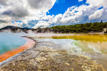 The lake of multicolored thermal waters