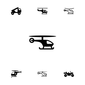 Collection of 7 helicopter filled and outline icons