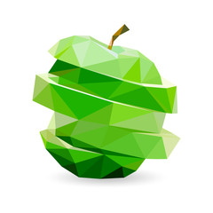 Vector polygonal green cutted apple.