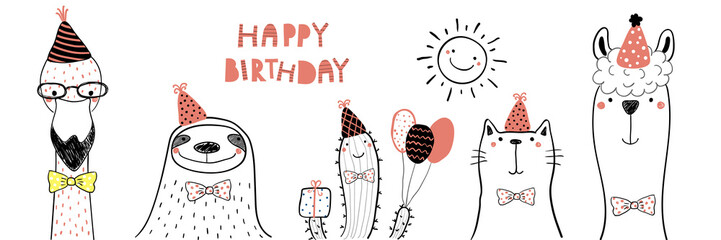 Poster Illustrations Hand drawn birthday card with cute funny flamingo, sloth, cactus, cat, llama in party hats, lettering quote Happy birthday. Isolated objects. Line drawing. Vector illustration. Design concept kids
