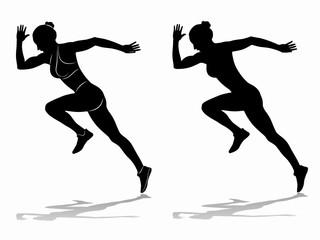 silhouette of runner , vector draw