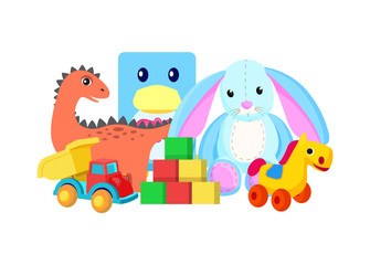Dinosaur and Rabbit Toys Vector Illustration