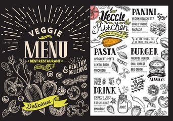 Organic menu for restaurant. Vector food flyer for bar and cafe. Design template with food hand-drawn graphic illustrations.