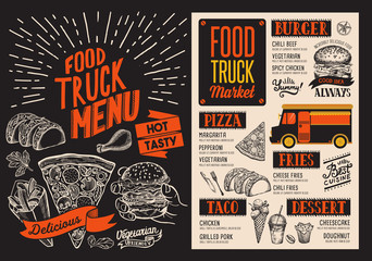 Menu for food truck street festival. Design template with hand-drawn graphic illustrations.
