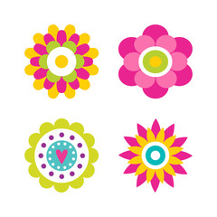 Flowers in Blossom Collection Vector Illustration