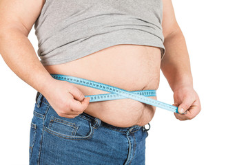 The person with excess weight. Isolated on white background