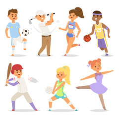 Sport wellness vector people characters sporting man activity woman sporty athletic illustration.