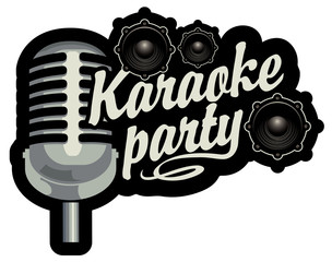 vector banner for inscription karaoke party with microphone and audio speakers