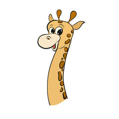 Funny smiling spotted little giraffe with a long neck
