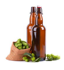 Glass bottles for kraft beer with fresh green branch of hops, isolated on white background.