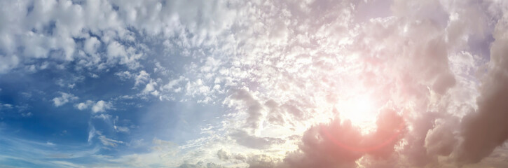 Dramatic atmosphere panorama aerial view of beautiful nature blue sky and clouds in twilight time background.