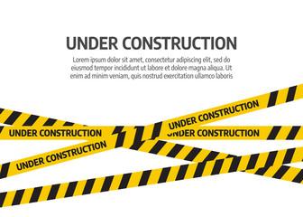 Under construction website page. Under construction tape warning banner vector