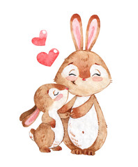 Happy bunny with mother watercolor cartoon isolated on white background