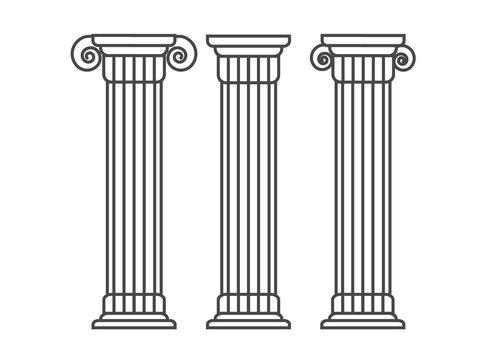 Greek and roman pillar. Outline vector pillar illustration. Architecture greek column icon