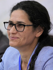 Ilham Ahmed co-chair of the Syrian Democratic Council (SDC) is seen during the third meeting in Tabqa
