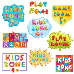Game room vector kids playroom banner in cartoon style for children play zone decoration illustration set of childish lettering label for kindergarten decor isolated on white background