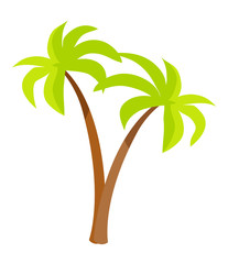 Palm Trees with Green Leaves and Trunk, Palm Icons