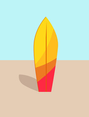 Colorful Surfboard in Hot Sand Vector Illustration