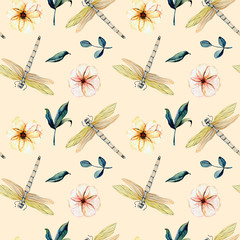 Seamless pattern with watercolor tender dragonflies, pink flowers and green leaves, hand painted on a pink background
