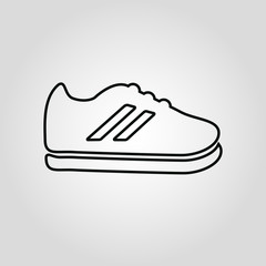 Fashioned sport style shoes isolated flat liner icon