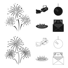 A video camera with smoke, a twirling holiday ball, a plate of sandwiches, an envelope with a greeting card. Event services set collection icons in black,outline style vector symbol stock illustration