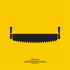 Two-handed saw vector icon. Object on a yellow background