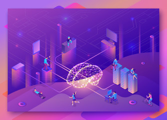 Artificial intelligence concept with electric brain, people, neural network, isometric 3d illustration with smartphone, laptop, mobile gadget, modern data storage banner, landing page background