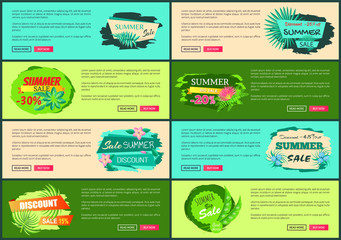 Tropical Banners Set with Push Buttons Promo Group
