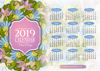 Colored 2019 Year Calendar Rectangular Template. Beautiful Abstract Flowers, Elegant Feminine Design. Corporate Identity, Flyer, Wall Poster. Vector Illustration. Clipping Mask, Editable