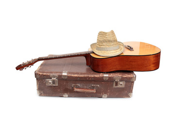 Wall Mural - Old suitcase and guitar in country style on a white background