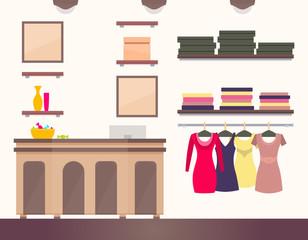 Female Shop Interior, Colorful Vector Illustration